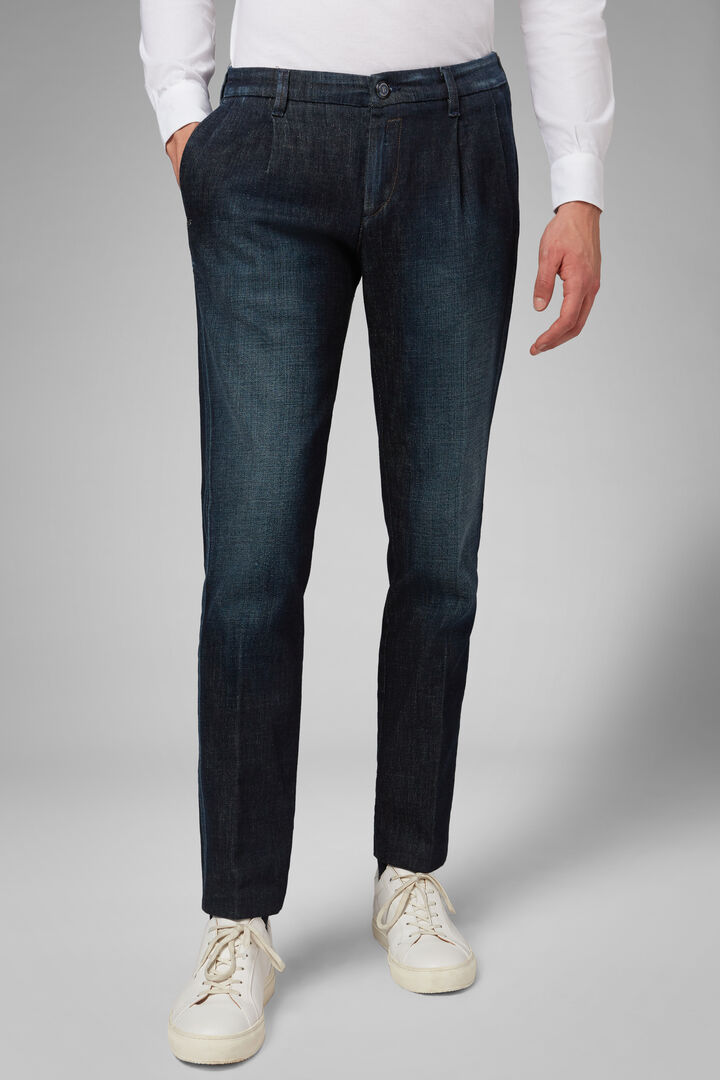 Dark Wash Double Pleat Denim Jeans, Indigo, hi-res