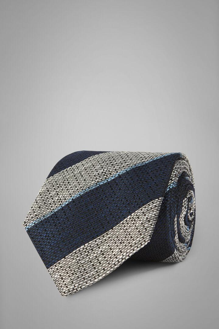Gemusterte Krawatte Aus Seidenjacquard, Blau grau, hi-res