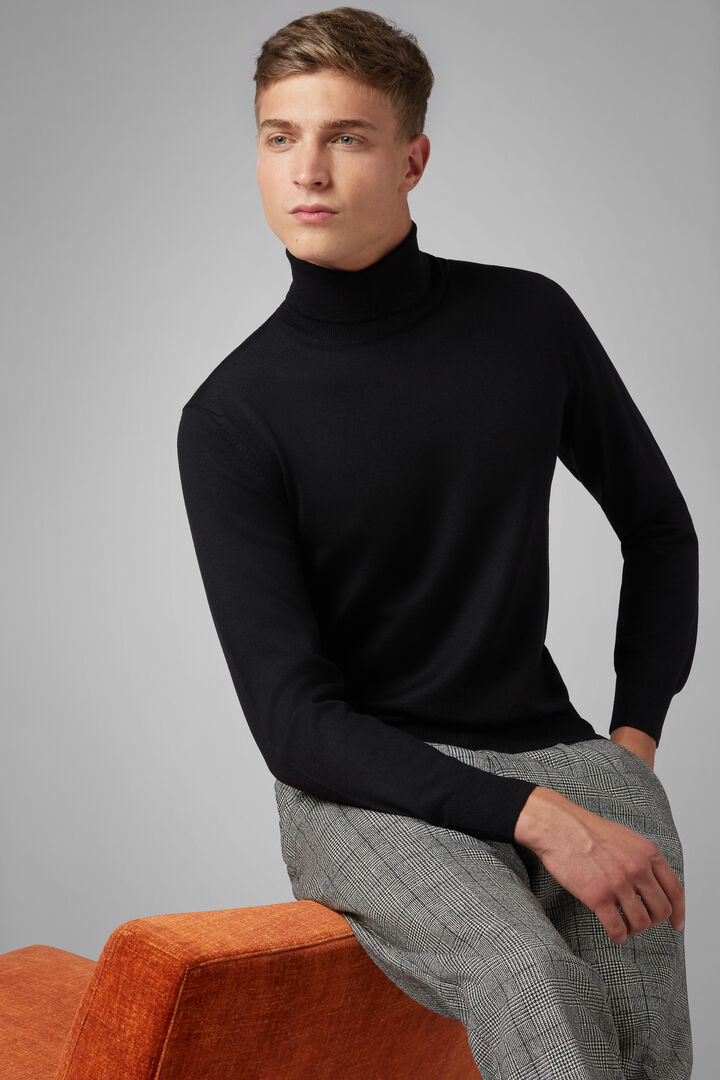 Extra Fine Merino Wool Polo Neck Jumper, Black, hi-res