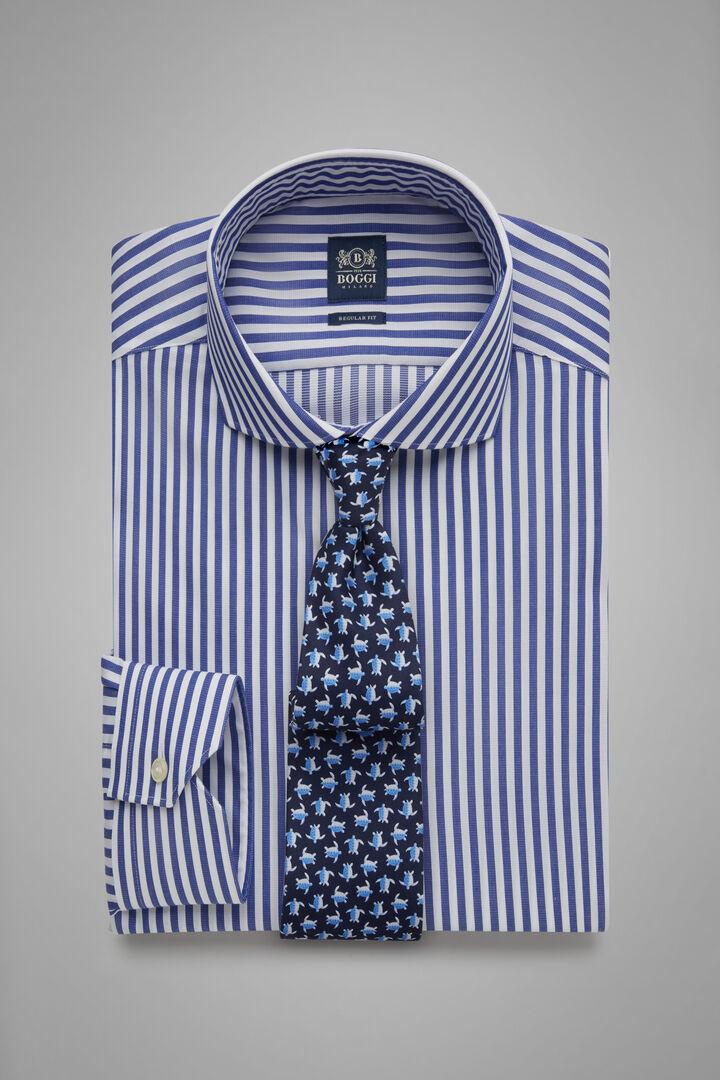 Hemd Mit Azurblauen Streifen Mit Napoli-Kragen Regular Fit, Blau, hi-res