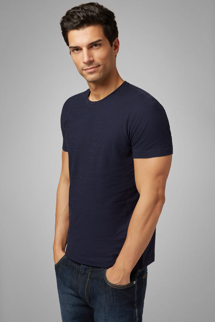 T-Shirt Navy In Jersey Di Cotone, Navy, hi-res