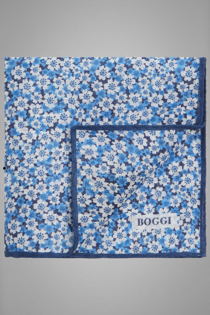 Floral Print Linen Pocket Square, Blue, hi-res