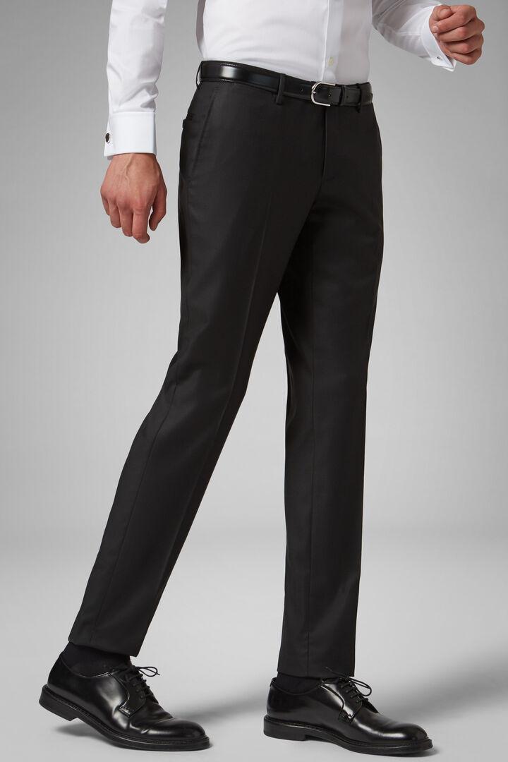 Pantalon En Laine Super 130 Coupe Droite, charbon, hi-res