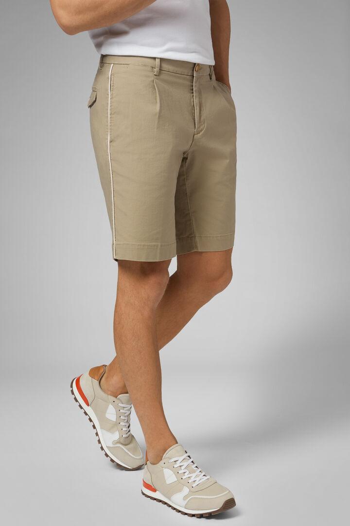 Plain Slub Cotton Pleated Bermuda Shorts, Beige, hi-res