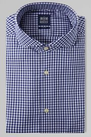 CAMICIA A QUADRETTI BLU COLLO NAPOLI SLIM FIT, BLU, hi-res