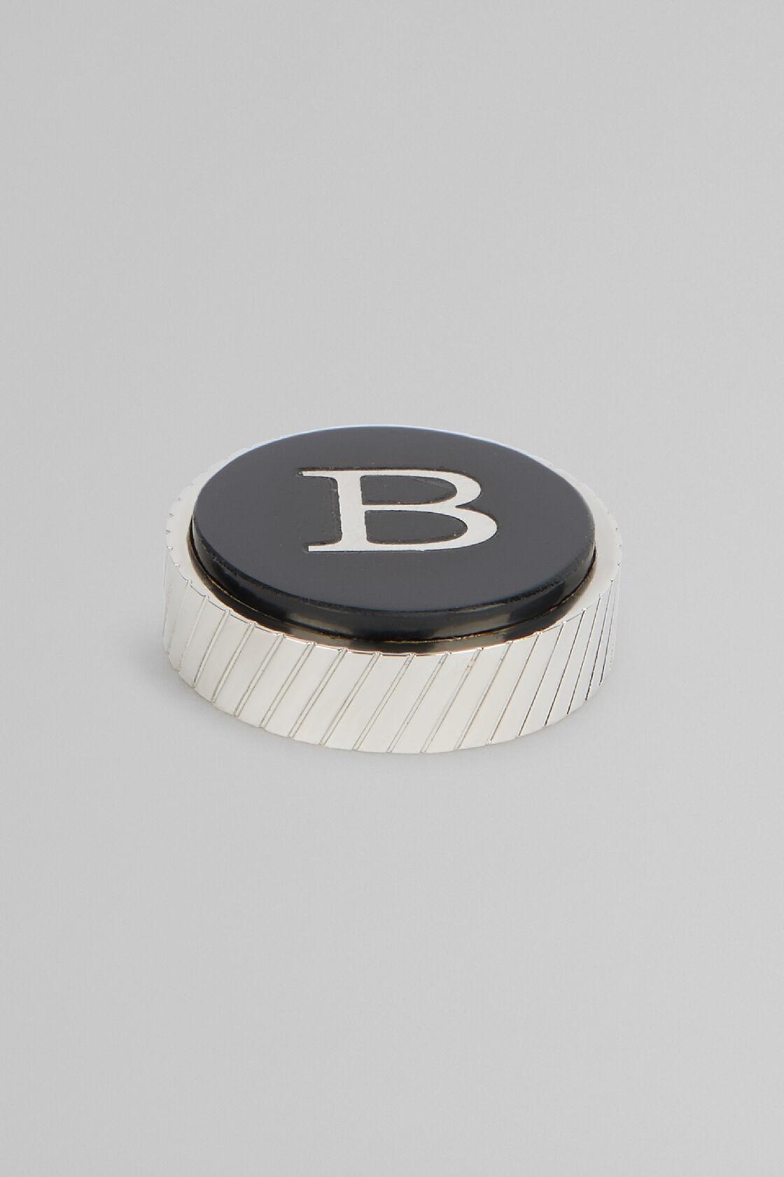 Metal Letter B Cufflinks, Black, hi-res