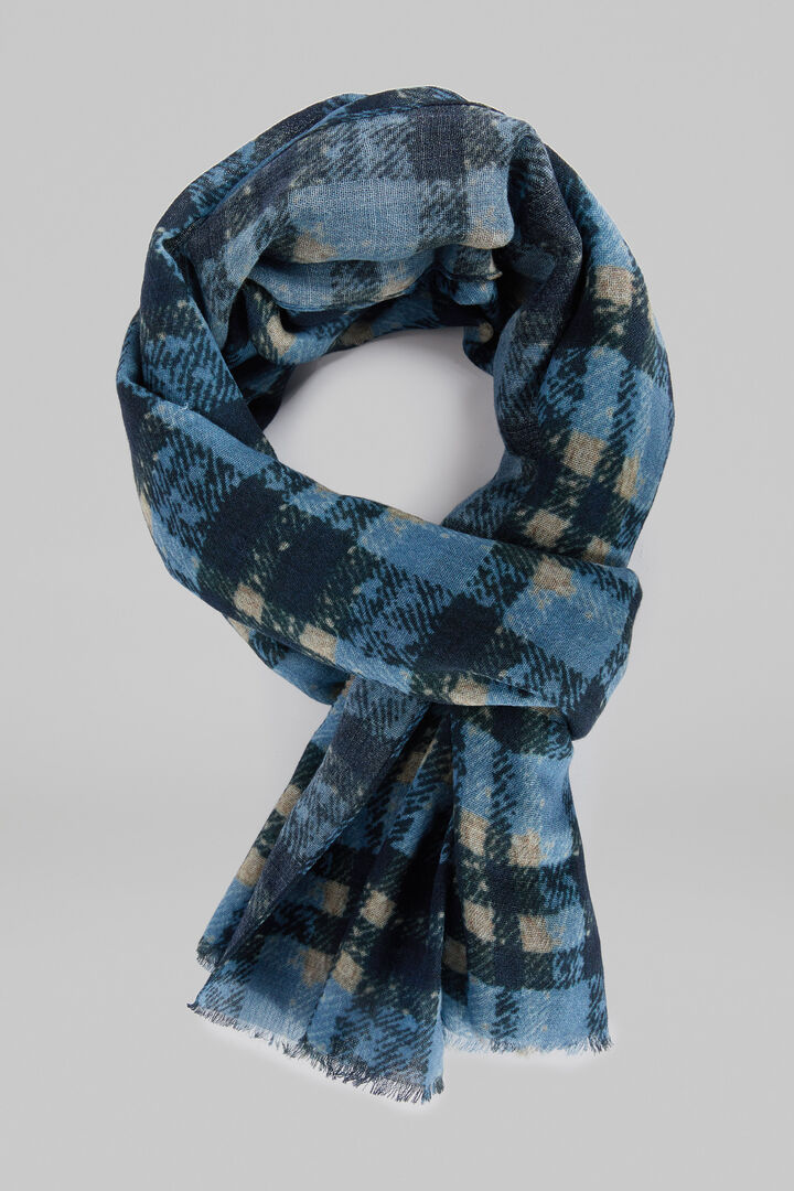 Checked Wool Scarf, Blue, hi-res
