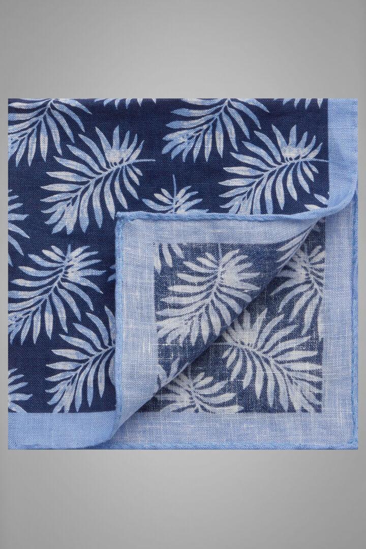 Leaf Print Linen Pocket Square, Blue - Light blue, hi-res