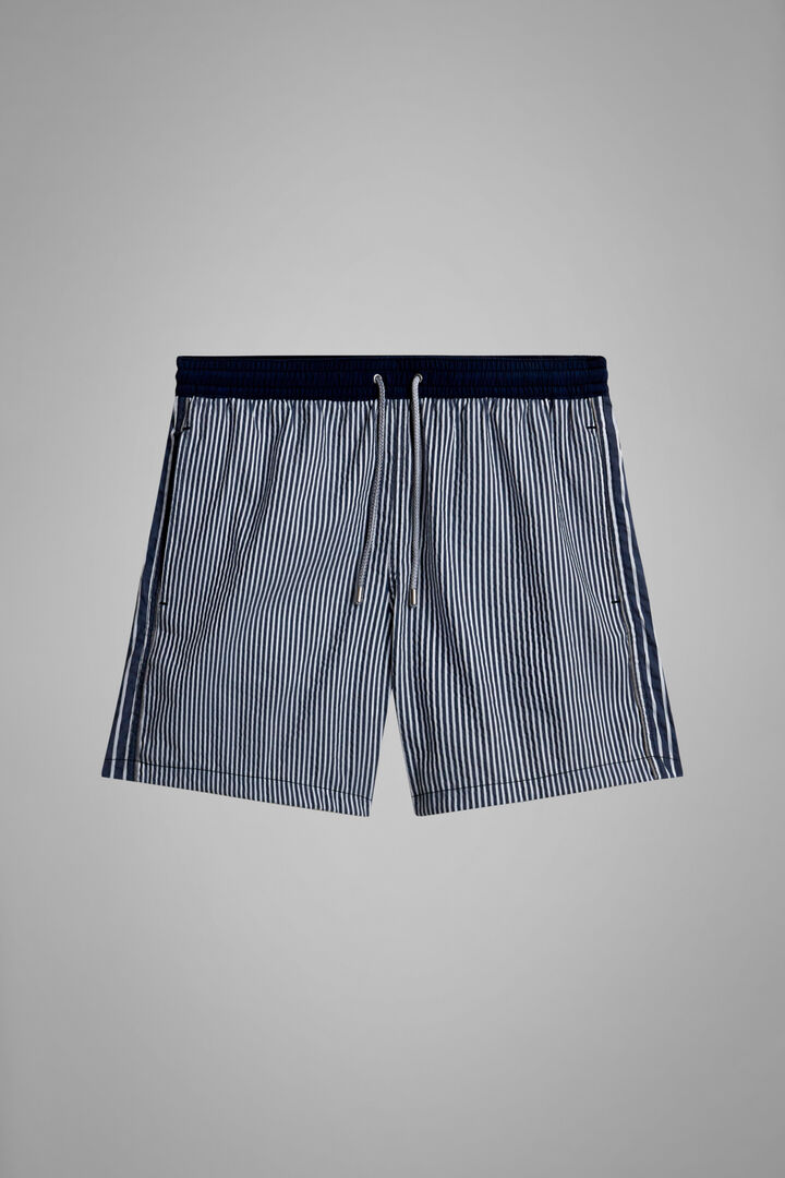 Patchwork Candy Striped Seersucker Swimming Trunks, Blue, hi-res
