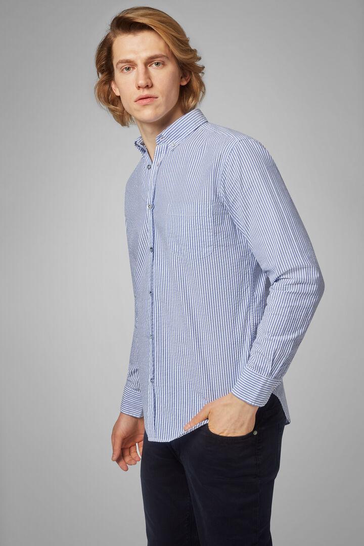 Camisa Regular Fit A Rayas Azul Aciano Con Cuello Button Down, Blanco - Bluette, hi-res
