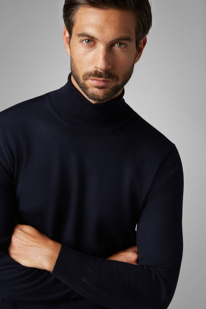 Extra Fine Merino Wool Polo Neck Jumper, Navy blue, hi-res