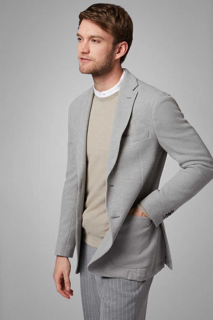GREY COTTON CREPE JERSEY BARI BLAZER, , hi-res