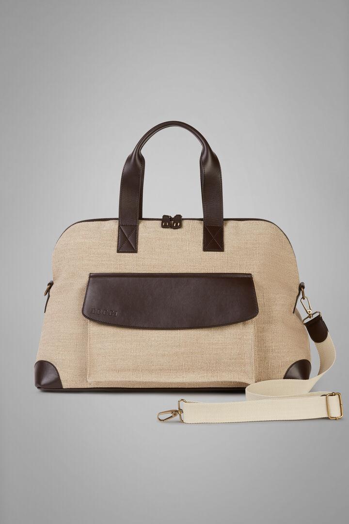 Canvas And Leather Travel Bag, Natural - Dark Brown, hi-res