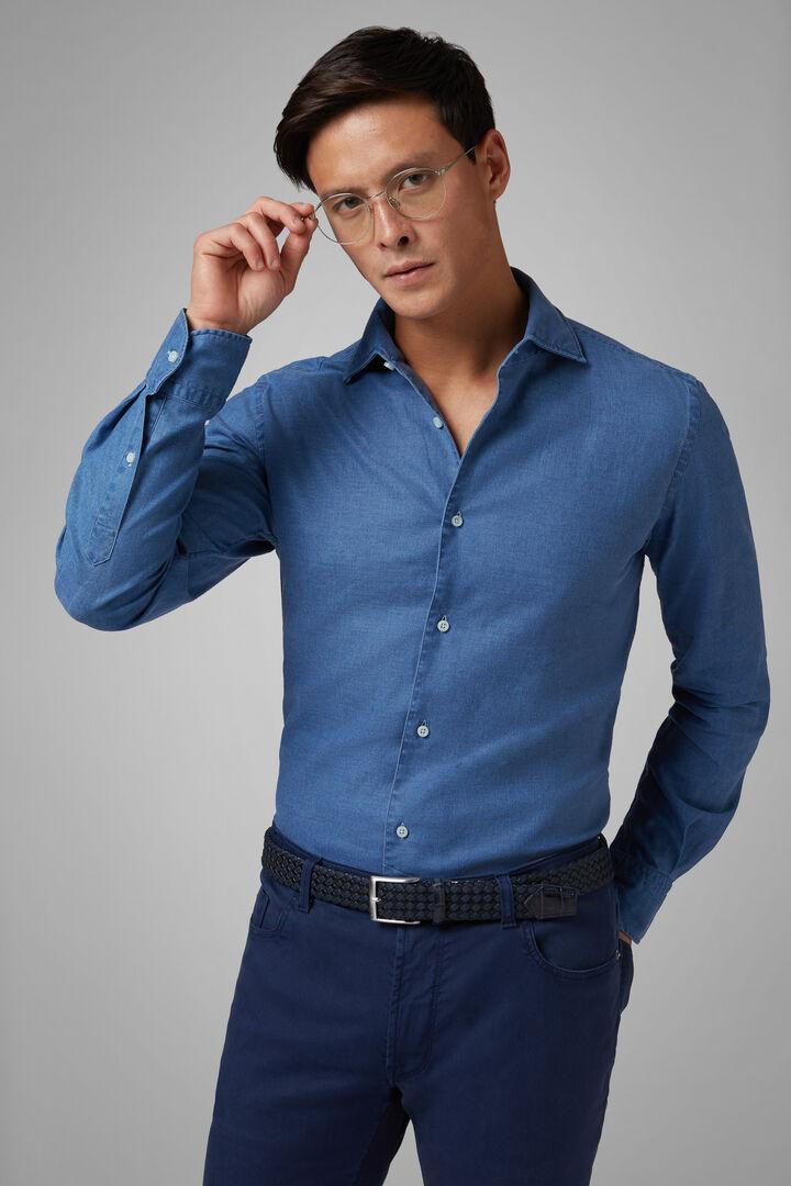 Regular Fit Navy Blue Shirt With Cuban Collar, Navy blue, hi-res
