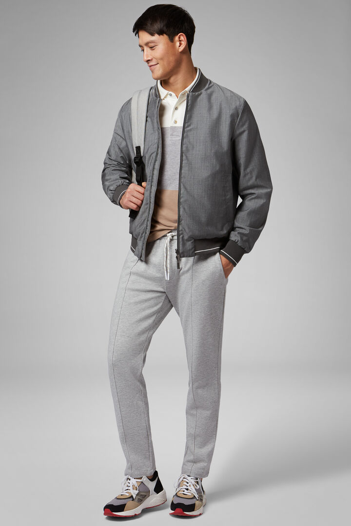 Reversible Wool And Technical Fabric Bomber Jacket, Grey - Beige, hi-res