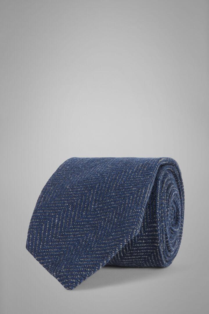 Krawatte Mit Fischgrätmuster Aus Reinem Kaschmir, Blau, hi-res