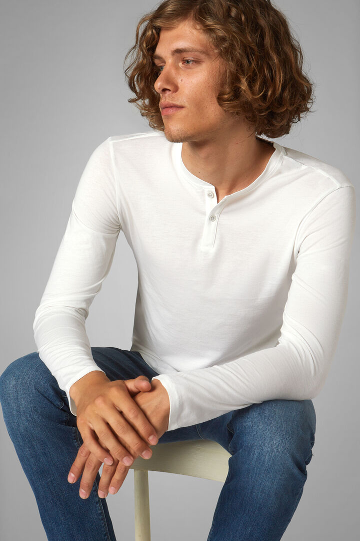 White Cotton/Tencel Jersey Henley, White, hi-res