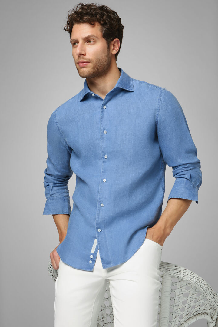 Hemd Blau Mit Bowling-Kragen Regular Fit, Bluette, hi-res