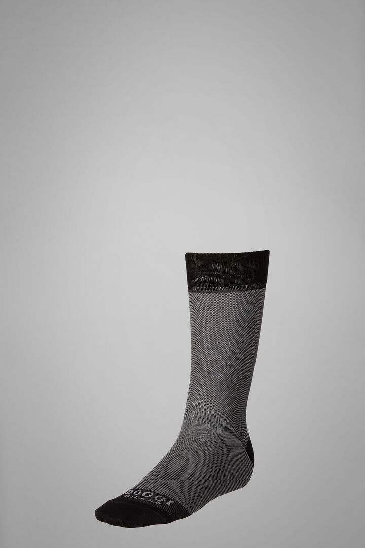 Chaussettes Courtes Motif Oxford, Gris noir, hi-res