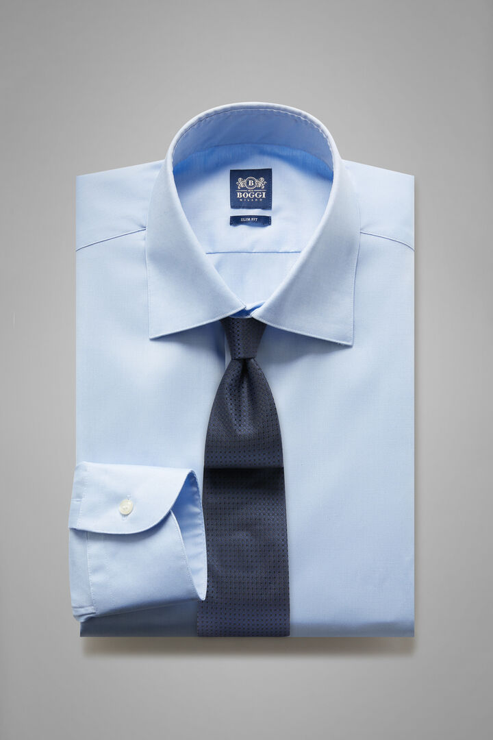 Slim Fit Sky Blue Shirt With New York Collar, Light blue, hi-res
