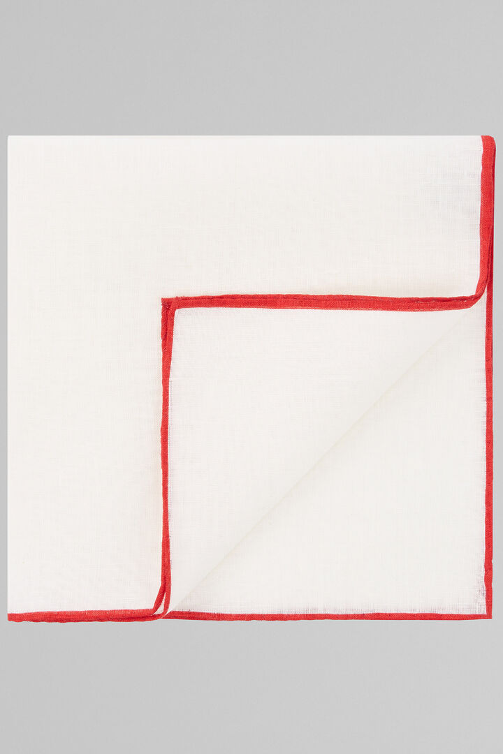 White Pure Linen Pocket Square With Red Border, White - Red, hi-res