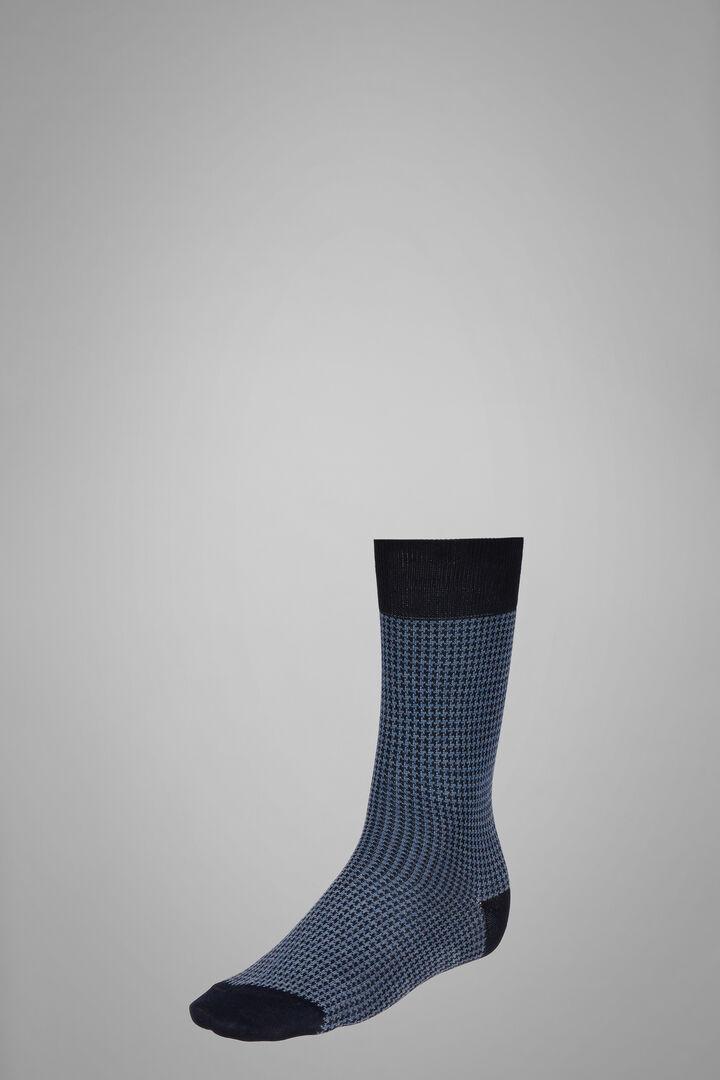 Short Socks With Micro Houndstooth Motif, Navy - Light blue, hi-res