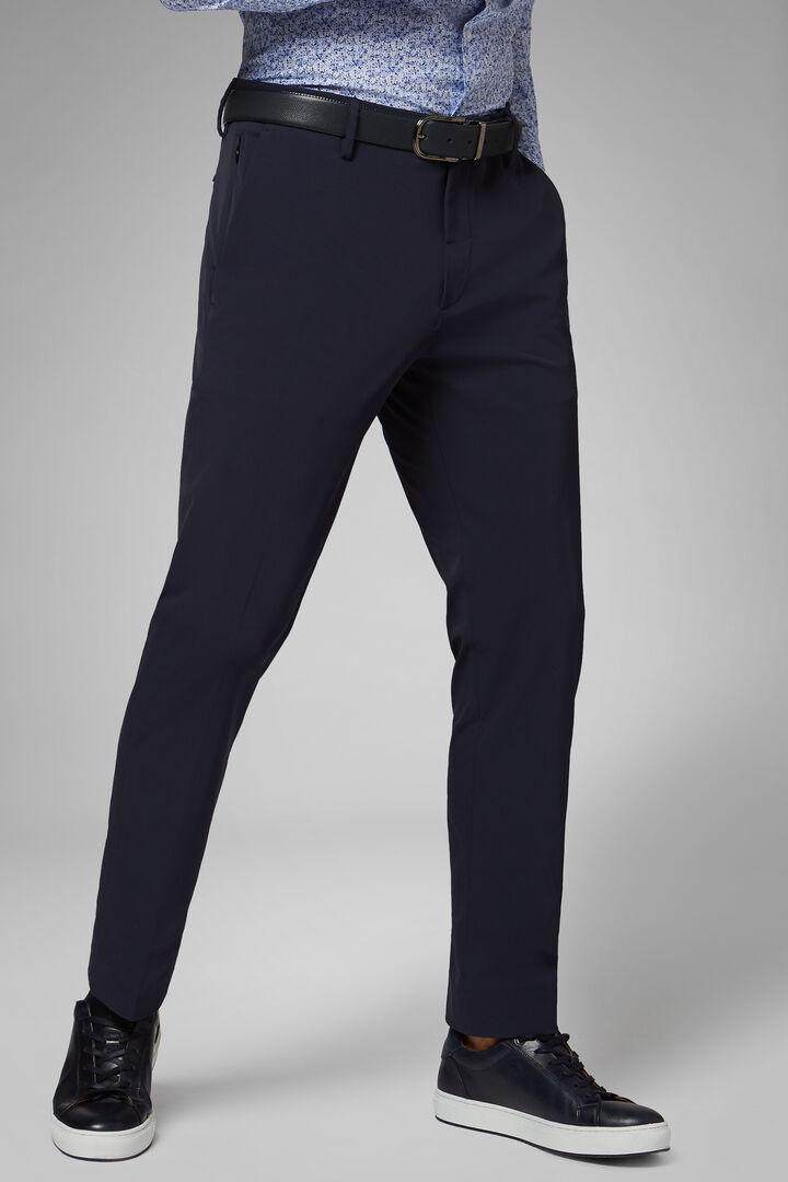 Pantalon En Nylon À Performance Technique Coupe Droite, bleu marin, hi-res