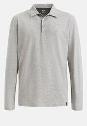 Poloshirt aus baumwolle und tencel regular fit lange ärmel, Grau, hi-res