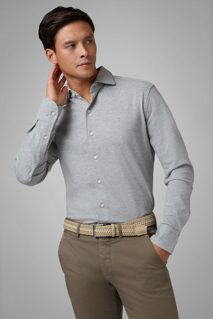 Regular Fit Grey Casual Shirt With Closed Collar, Light grey, hi-res
