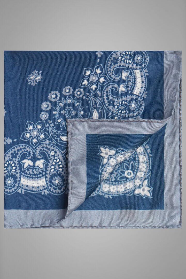 Pochette À Motifs En Soie Imprimée, Bleu gris, hi-res