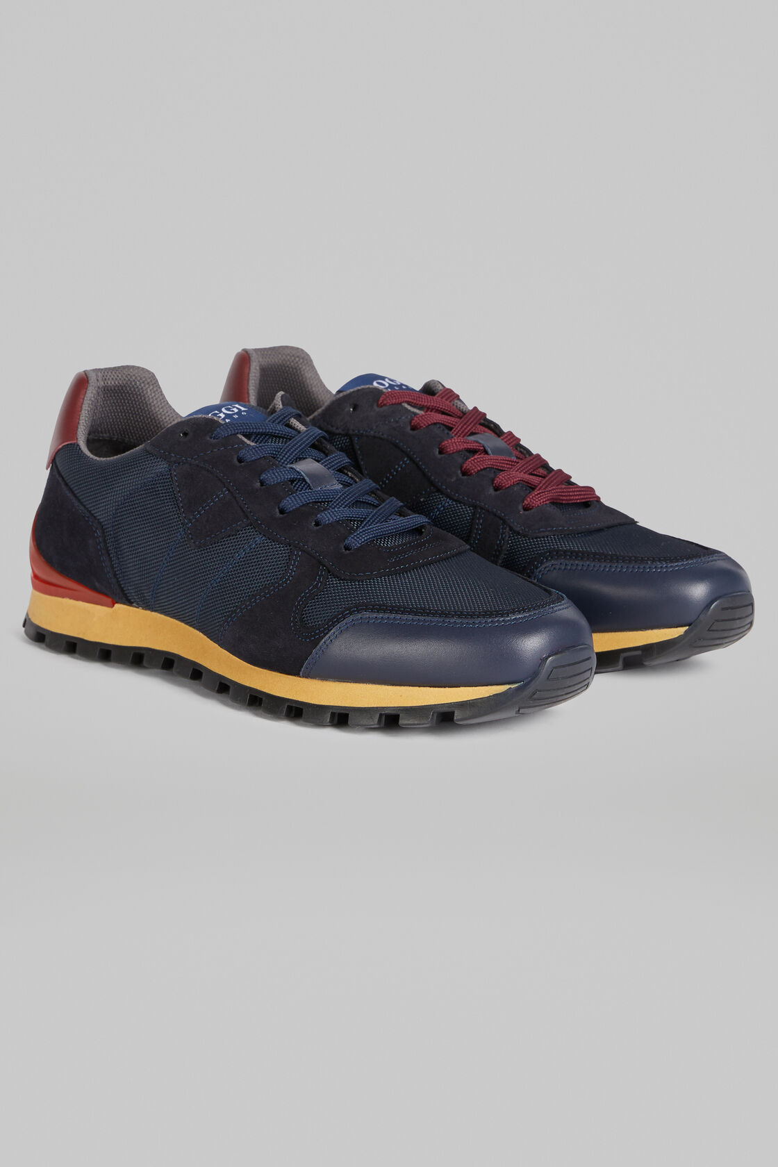 Sneakers Running Pelle E Nylon, Navy - Bordeaux, hi-res