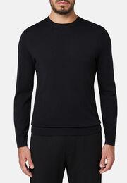 Schwarzer pullover mit rundhalsausschnitt aus superfeiner merinowolle, Schwarz, hi-res