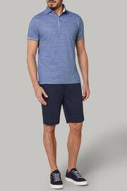 Polo aus baumwollpiqué und leinen regular fit, Blau, hi-res