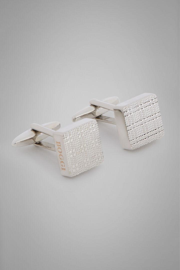 Manschette Rechteckig Aus Metall 3D, Silber, hi-res