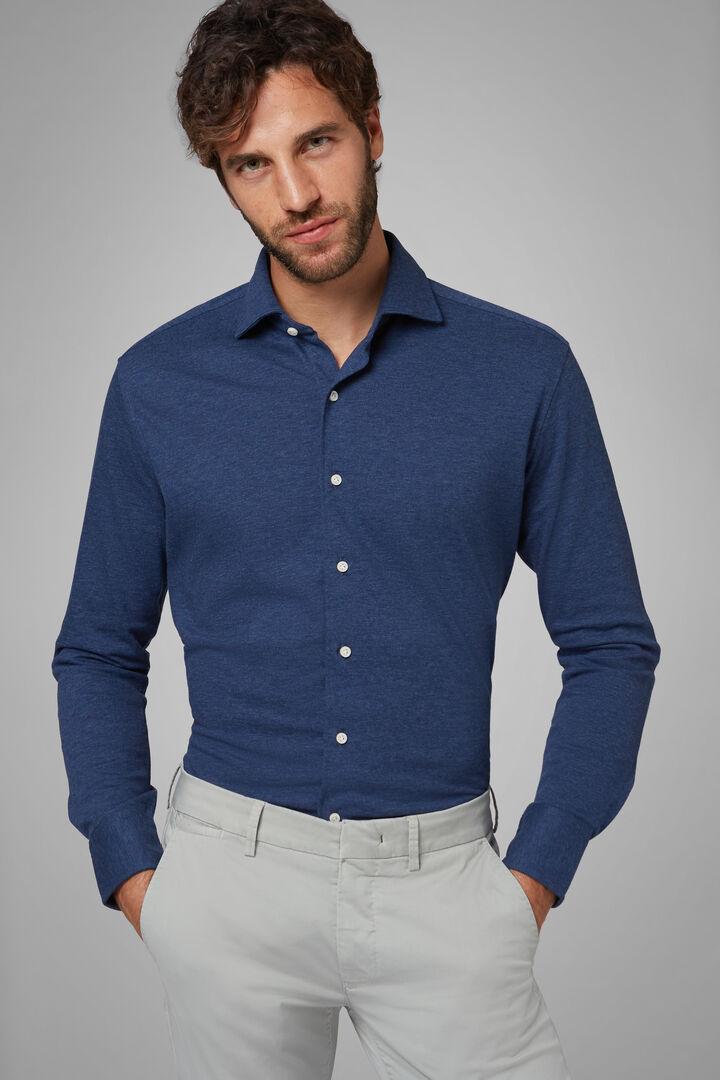 Regular Fit Casual Shirt In Denim With Closed Collar, Denim, hi-res
