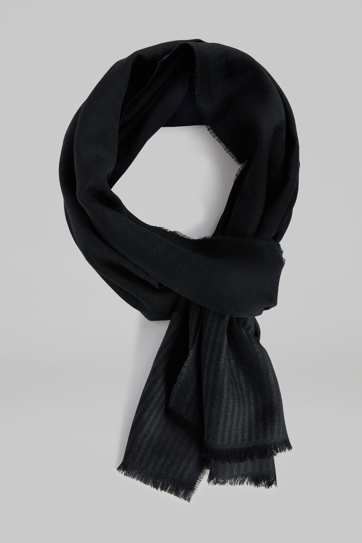 Houndstooth Wool/Silk Jacquard Scarf, Black - Grey, hi-res
