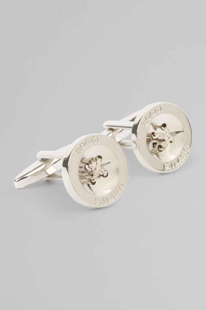 Button Cufflinks, Silver, hi-res