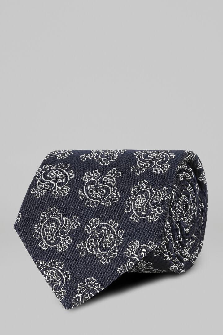 Gemusterte Krawatte Aus Seide Und Baumwolljacquard, Blau, hi-res