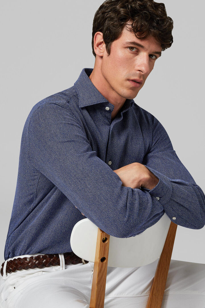 Regular Fit Blue Leno Weave Shirt With Closed Collar, Blue, hi-res