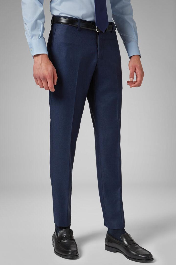 Pantalon Oeil-De-Perdrix En Laine Coupe Droite, Bluette, hi-res
