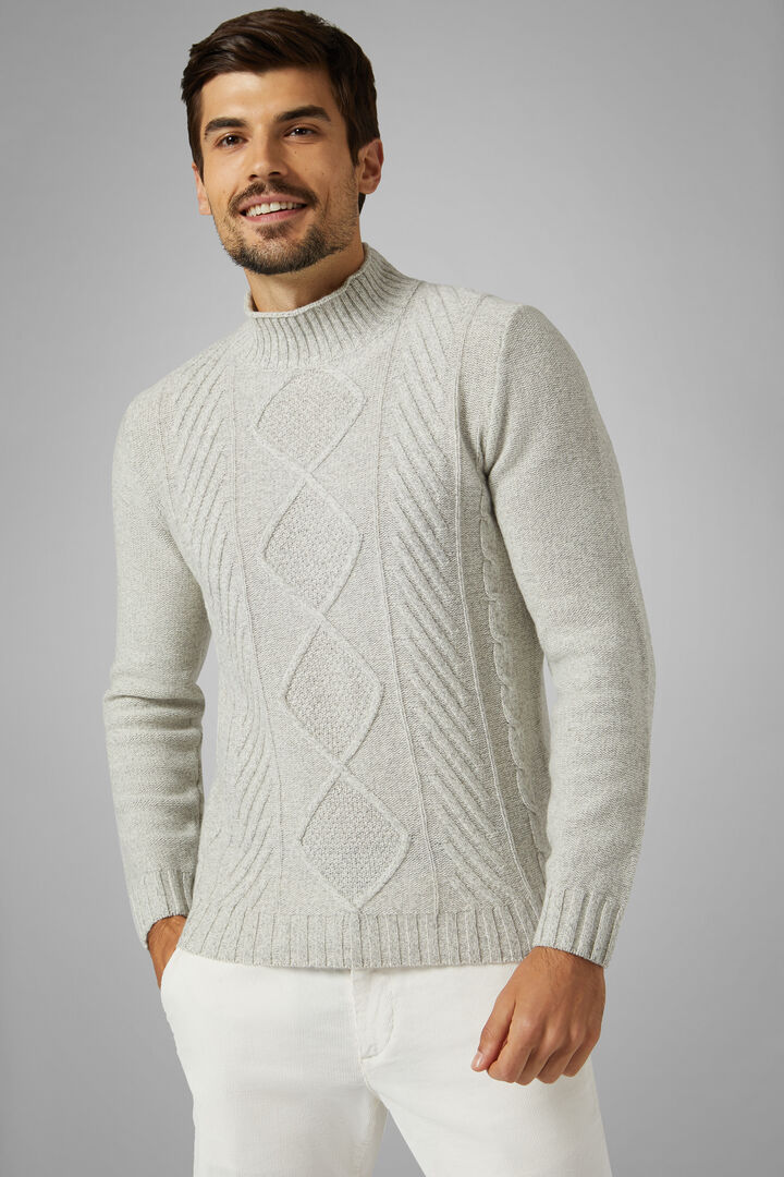 Wool Blend Mock Polo Neck Jumper, Grey, hi-res