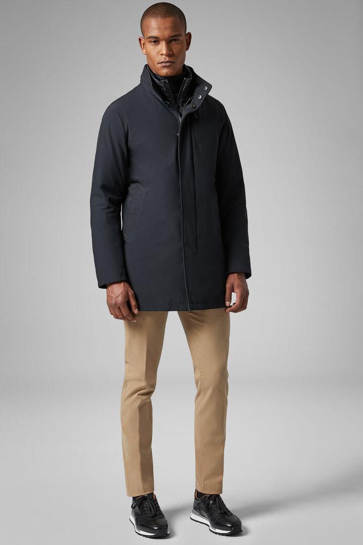 Technical Down High Neck Coat With Bib, Black, hi-res