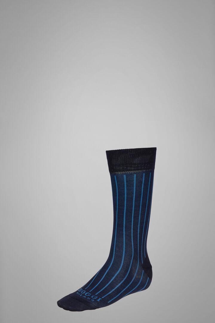 Short Socks With Contrasting Cuff, Navy - Natural, hi-res