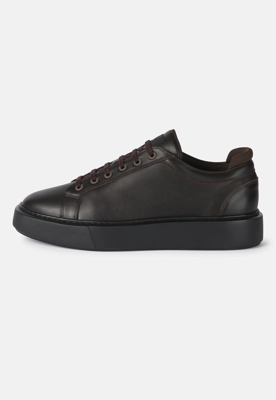 Leichte sneaker aus leder in dunkelbraun, Braun, hi-res