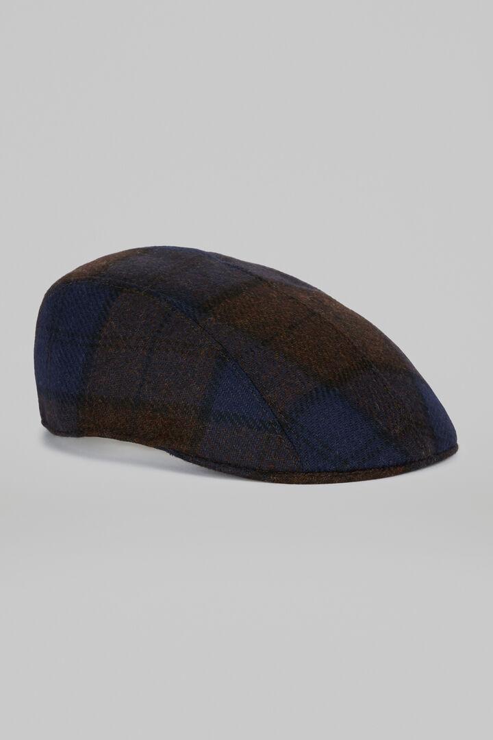 Wollmütze Mit Schottenmuster, Braun - Blau, hi-res