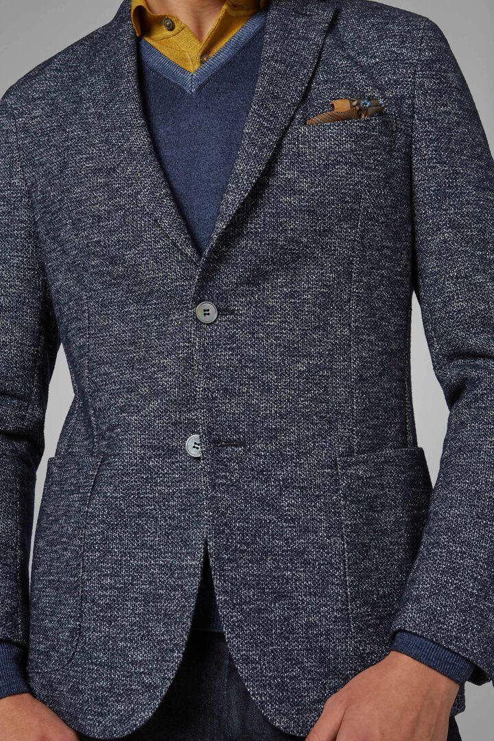 Blazer Bleu Bari En Jersey De Laine Et Coton, Bleu, hi-res