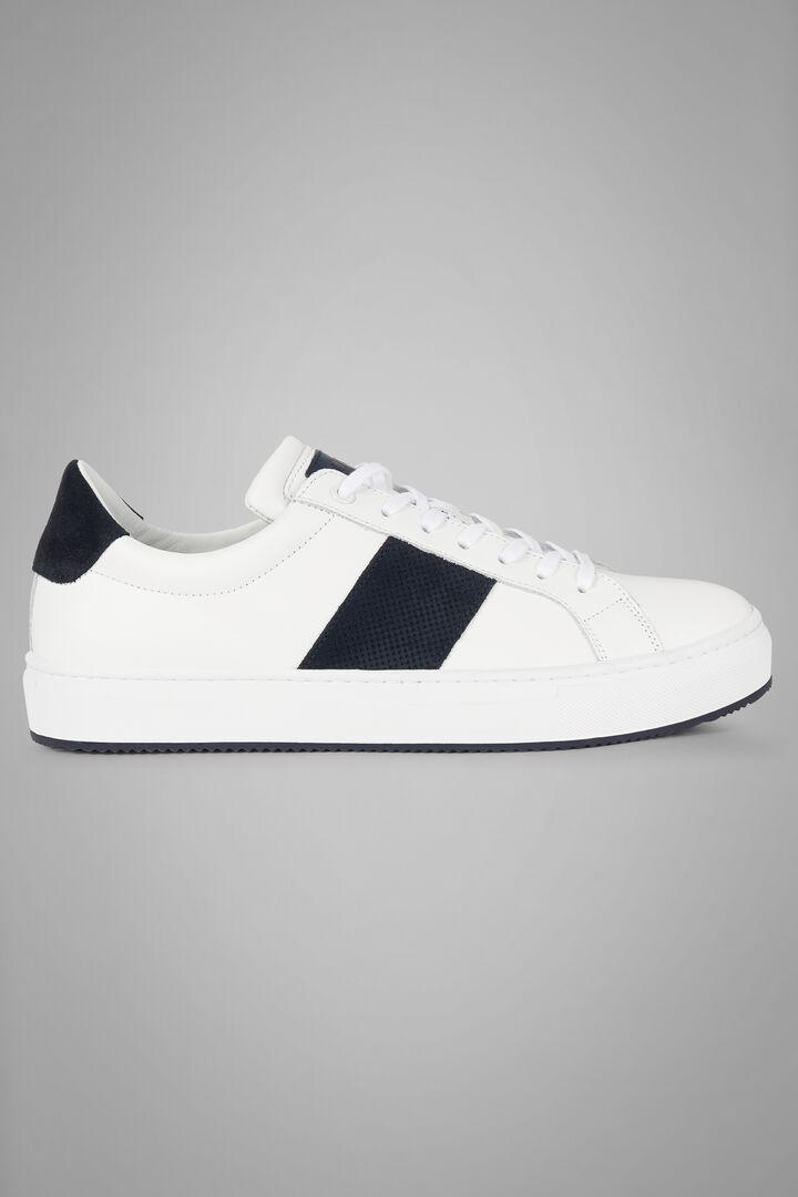 Sneakers De Piel Con Banda De Ante Microperforada, Blanco azul, hi-res