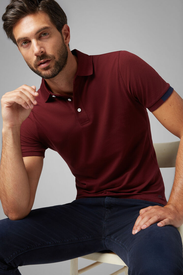 Polo Bordeaux Aus Baumwollpikee, Tencel Und Stretch, Burgund, hi-res