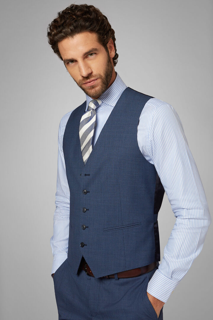 Houndstooth Wool Waistcoat, Blue, hi-res