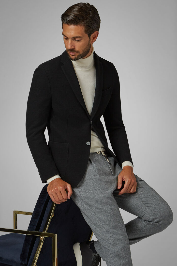 Black Wool Jersey Bari Blazer, Black, hi-res